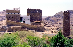 Mud House  - new and old - with ancient \'guard tower\'  Asir Province, Saudi Arabia